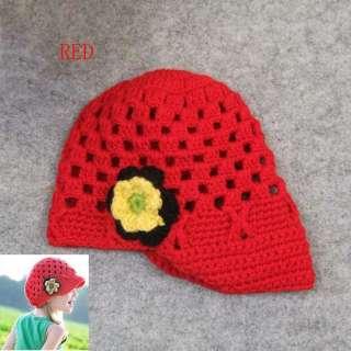 Crochet Handmade Wool Baby Kids Child Flower Brim Cap Hat Cute Gift