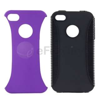 5x Hybrid Gel Rubber Skin/Hard Case Cover For iPhone 4 G 4S Purple