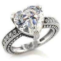 Womens Big Heart cut Wedding/Engagement Ring sz 7
