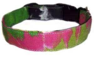 HOT PINK NEON GREEN TYE DYED Dog Puppy Collars Collar