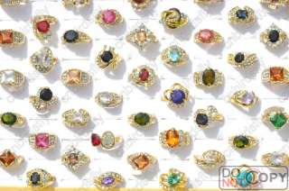 wholesale jewelry lots 20pcs 18K gold plated cz rings mulcticolor