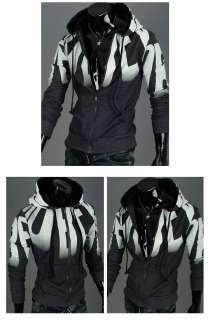 Mens Casual Slim Fit Zip Up Hooded Hoodies Hoody Jacket Top Black Grey