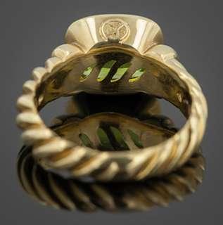 David Yurman 18k Gold and Peridot Ring Size 7