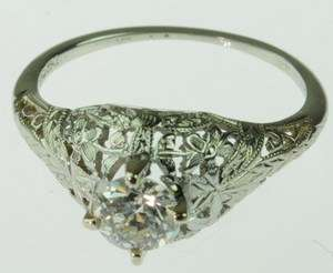 ANTIQUE LADIES 18K WHITE GOLD DIAMOND ART DECO RING 82686
