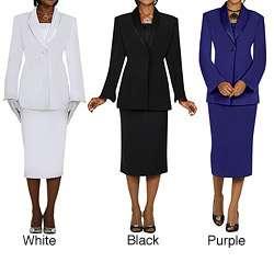 Divine Apparel Womens Satin Trimmed Shawl Collar Skirt Suit