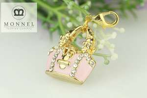 J25 Cute Pink Purse Handbag 3D Charm Pendant (1 piece)