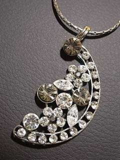 Flower Moon Silver Clear Swarovski Crystal Necklace