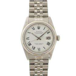 Pre owned Rolex Mens Datejust Stainless Steel White Gold White Roman