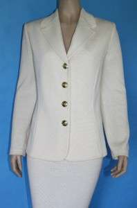 BASICS KNIT FITTED JACKET & SKIRT 2 PC SUIT WHITE CREST BUTTONS 12 14