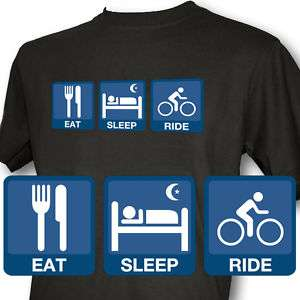 Eat Sleep Ride Mens Black T Shirt Cycle mountain bike