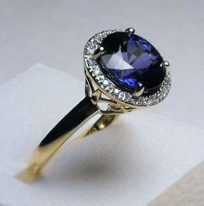 INCREDIBLE 4.95 CT BLUE SAPPHIRE/ DIAMOND BEAUTY 14K SOLID GOLD RING