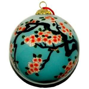 Glass Ornament, Blue with Pink Cherry Blossoms CO 155