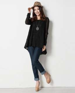 Asian Sizes L 4XL Womens Lace hollow out long Chiffon sleeve tops