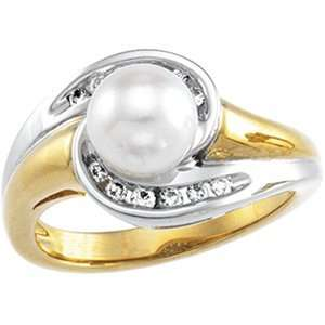 07.00 Mm 14K Yellow/White Gold Two Tone Pear And Diamond