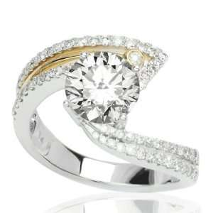 Contemporary Pave Set Round Diamonds Engagement Ring with a 1.01 Carat