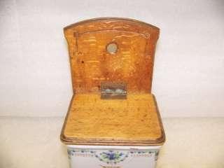 GERMAN ANIQUE PORCELAIN SAL BOX WOOD LID & BACK  