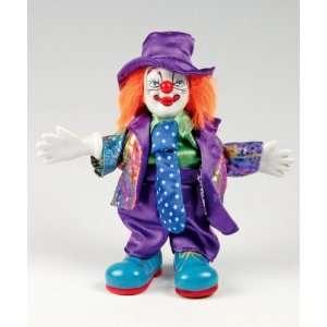 Clown Figurine   Purple Suit & Long Tie, Hand Painted