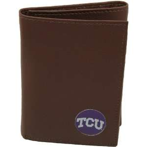 Horned Frogs (TCU) Brown Leather Tri Fold Wallet