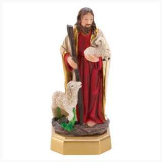 JESUS SHEPHERD SHEEP FIGURINE INSPIRATIONAL STATUE