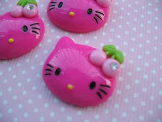 20 Resin Hello Kitty Flatback Button w/Cherry Hot PinK