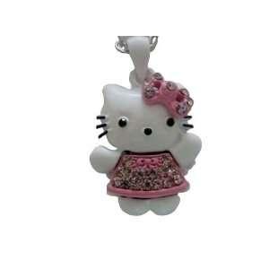 Kitty Ribbon Pink Dress Charm Pendant Chain Necklace 16 18 Jewelry