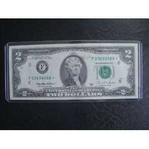 Two Dollar Star Note Series 1995 $2 Bill Note F 03686066
