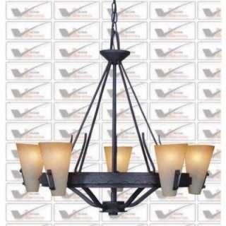 NEW 5 Light Rustic Chandelier Lighting Fixture, Iron Bronze, Sandstone