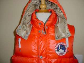 Lauren Polo Down Puffer Vest Sun Valley Orange Ski Club RT$298