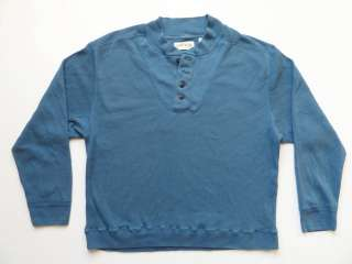 Long Sleeve Henley Blue Waffle Knit Size XL Button Up Thermal Shirt
