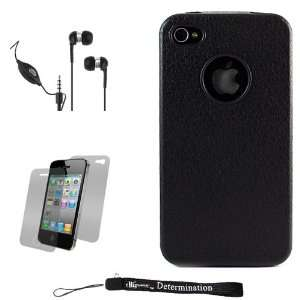 Black Textured Protective Silicone Skin Cover Case for Apple iPhone 4