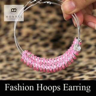 BK28 HOT Basketball Wives Circle Hoops Earring Fashion Jewelry Beads
