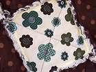 Flower Dot Rag Quilt Blanket & Pillow Set in Blue and Brown   Handmade