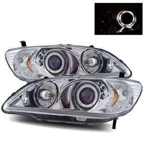 04 05 Honda Civic Chrome LED Halo Projector Headlights /w