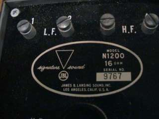 James B Lansing, JBL, N1200 16 Ohm Crossover Early Number