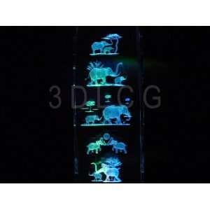 Elephants 3D Laser Etched Crystal 6 Inch