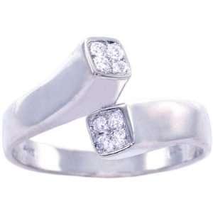 14K White Gold Diamond Geometric Promise Ring Diamond
