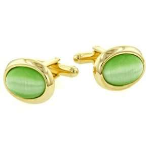 Green Cats Eye Cufflinks with Presentation Box. Made in