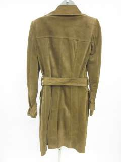 AUTH GUCCI Light Brown Suede Long Trench Coat Jacket 40