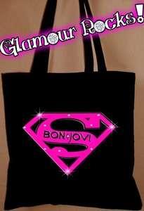 BON JOVI SUPERMAN RHINESTONE BLACK BAG PURSE TOTE