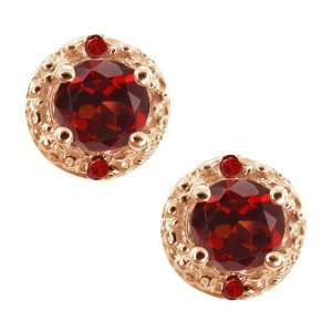 Ct Genuine Round Red Garnet Gemstone 14k Rose Gold Earrings Jewelry