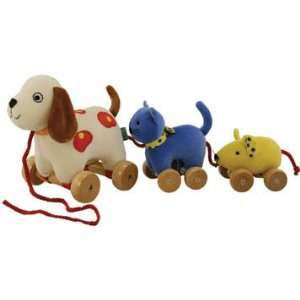 Velour Dog, Cat, & Mouse Pull Toy
