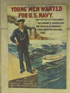 Vintage United States Navy Recruiting Poster.