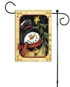 Wishing Snowman Winter Sm Garden Art Flag Custom Decor