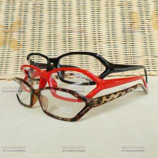 Leopard/Red/Black Slim Clear Lens Glasses Fancy Frame Party Costume