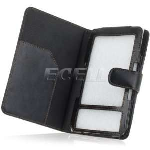 Ecell   BLACK BROWN LEATHER WALLET CASE FOR  KINDLE
