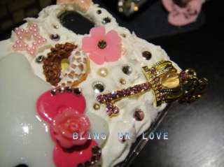 Bling hello kitty Whip Cream iPhone 4/4s case made with Swarovski