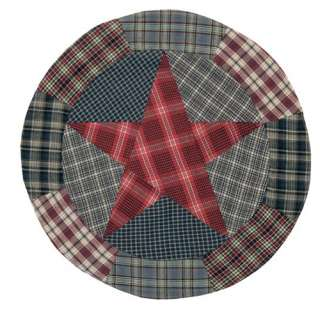 Americana Primitive Country Red & Navy Plaid Table Mat with Star 15