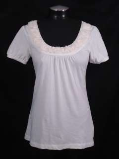 Ann Taylor LOFT S White Fringe Flower Applique Cotton Shirt Top Short