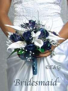 ELEGANT Wedding Bouquet Bridal Flower Silk NAVY CASCADE