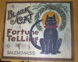 Wooden Sign Black Cat Fortune Telling Salem Ma. Primitive Wood Sign
